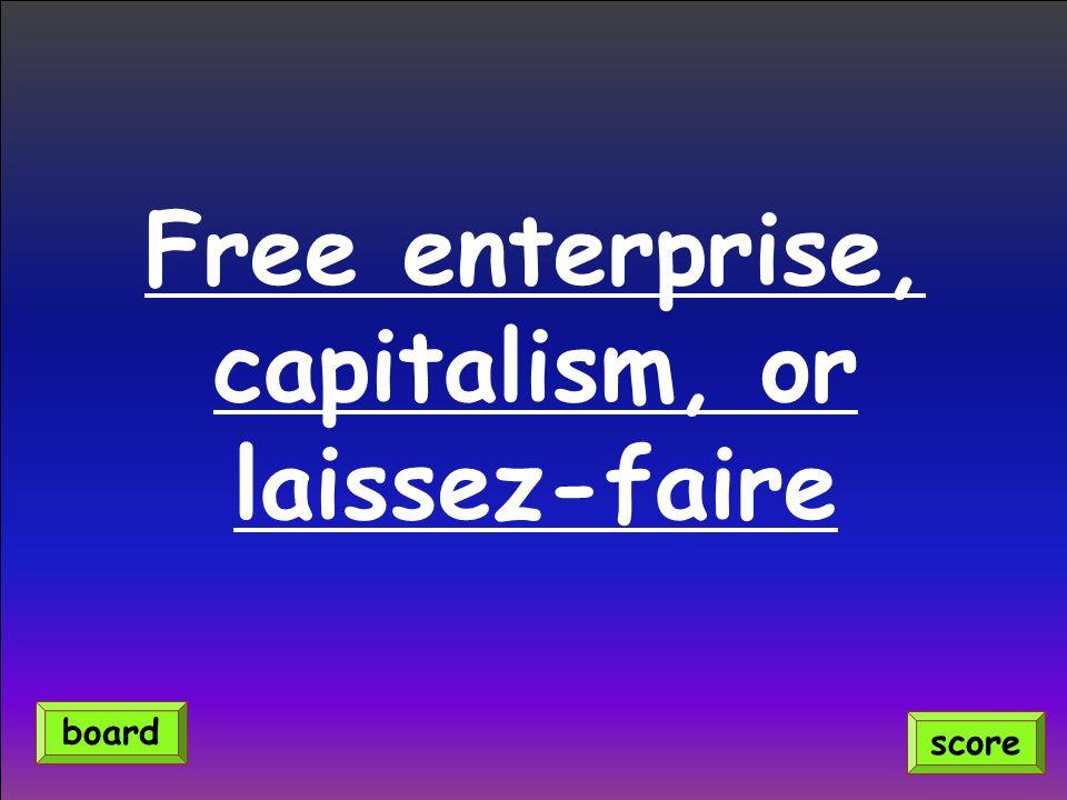 Free enterprise, capitalism, or laissez-faire score board