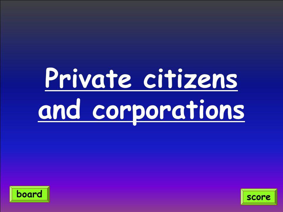 Private citizens and corporations score board