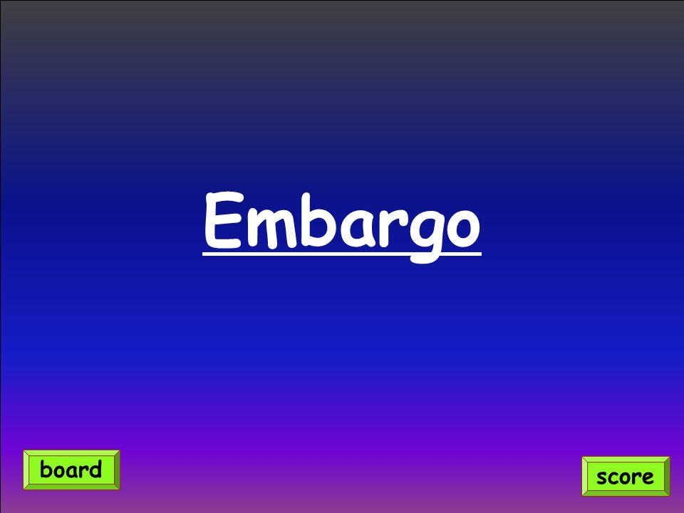 Embargo score board