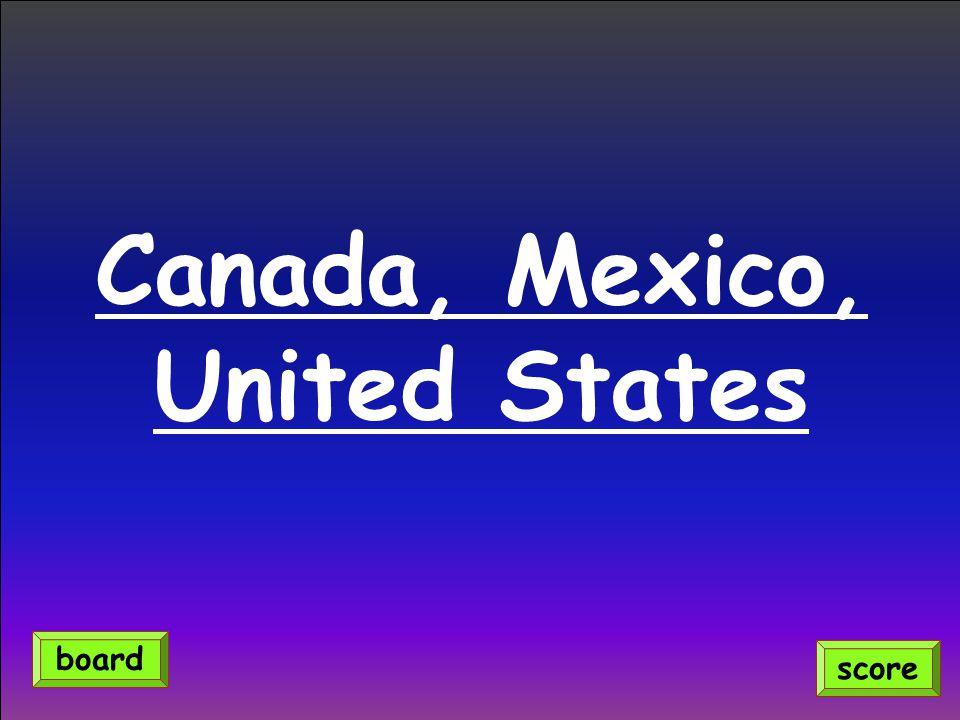 Canada, Mexico, United States score board