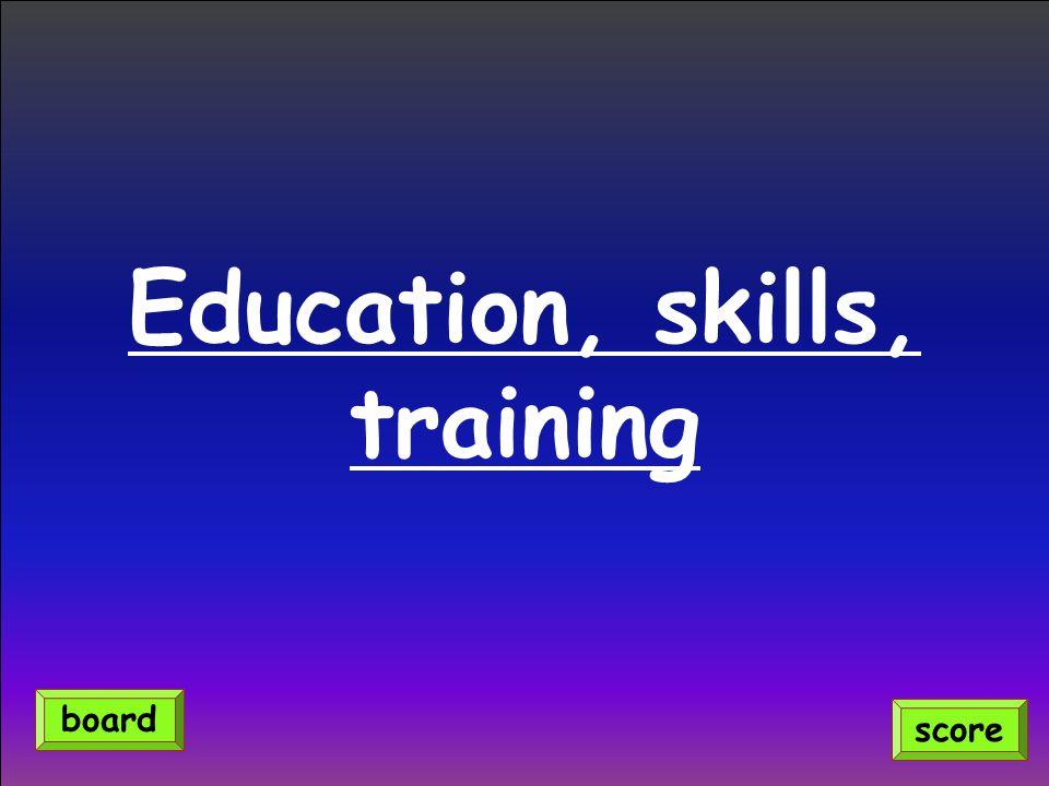 Education, skills, training score board
