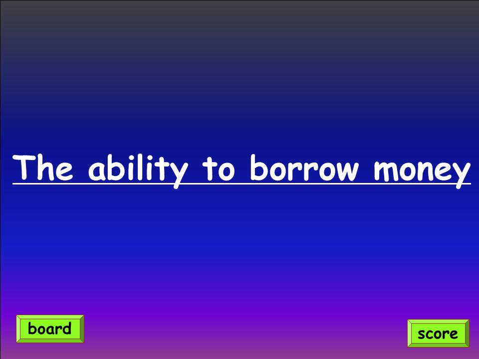 The ability to borrow money score board