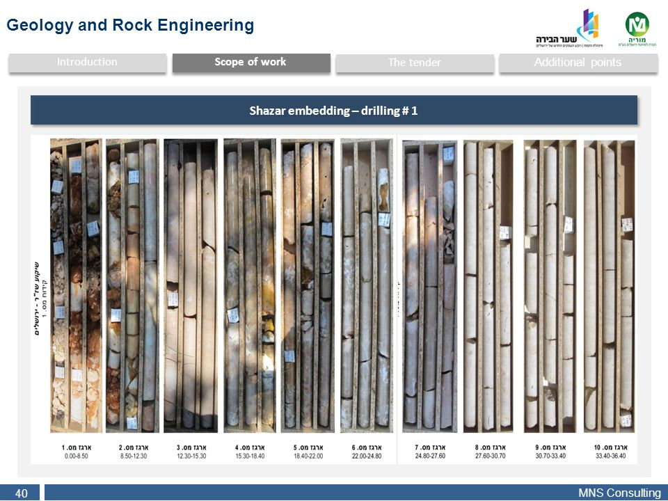 MNS Consulting 40 Additional points Scope of work Introduction The tender Shazar embedding – drilling # 1 Geology and Rock Engineering