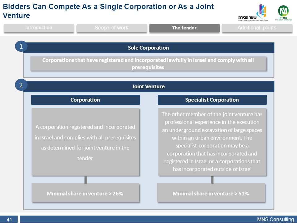 MNS Consulting 41 Additional points Scope of work Introduction The tender Corporations that have registered and incorporated lawfully in Israel and co