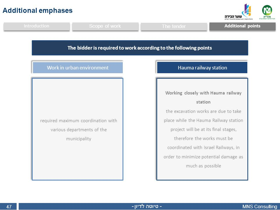 MNS Consulting 47 - טיוטה לדיון - Additional points Scope of work Introduction The tender Work in urban environment required maximum coordination with
