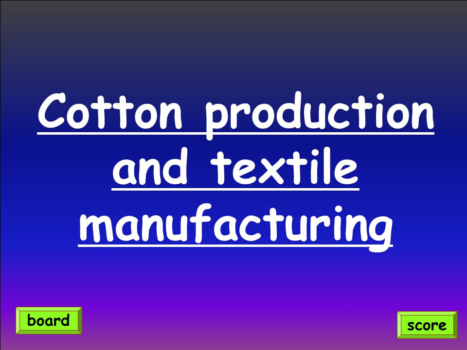 Cotton production and textile manufacturing score board