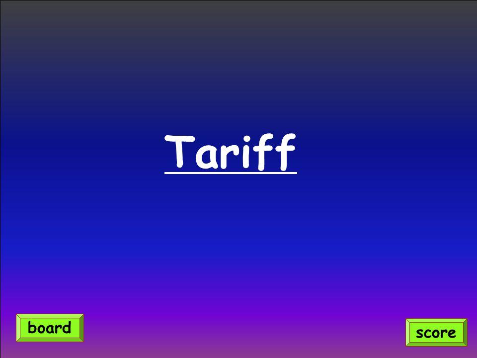 Tariff score board