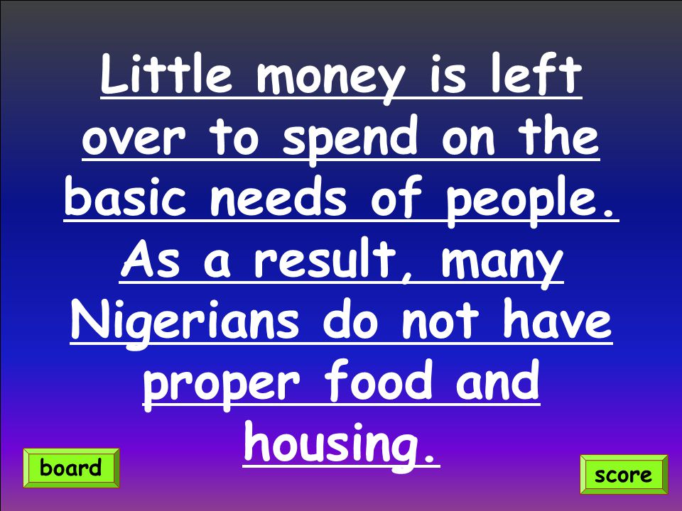Little money is left over to spend on the basic needs of people.