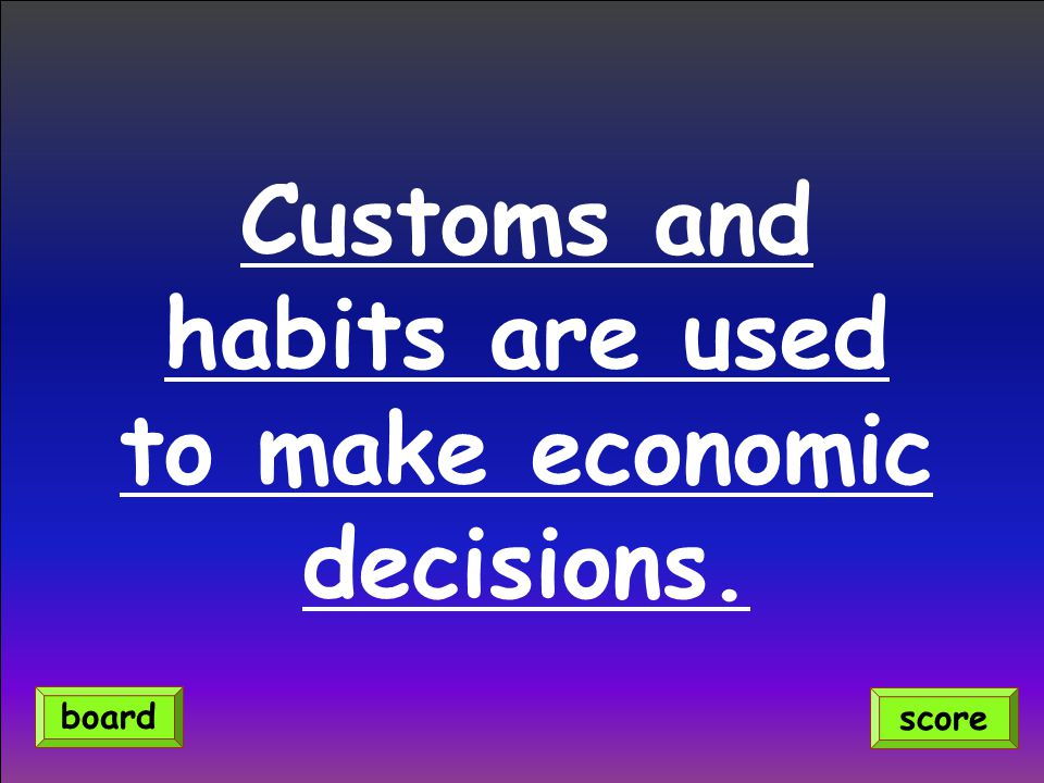 Customs and habits are used to make economic decisions. score board