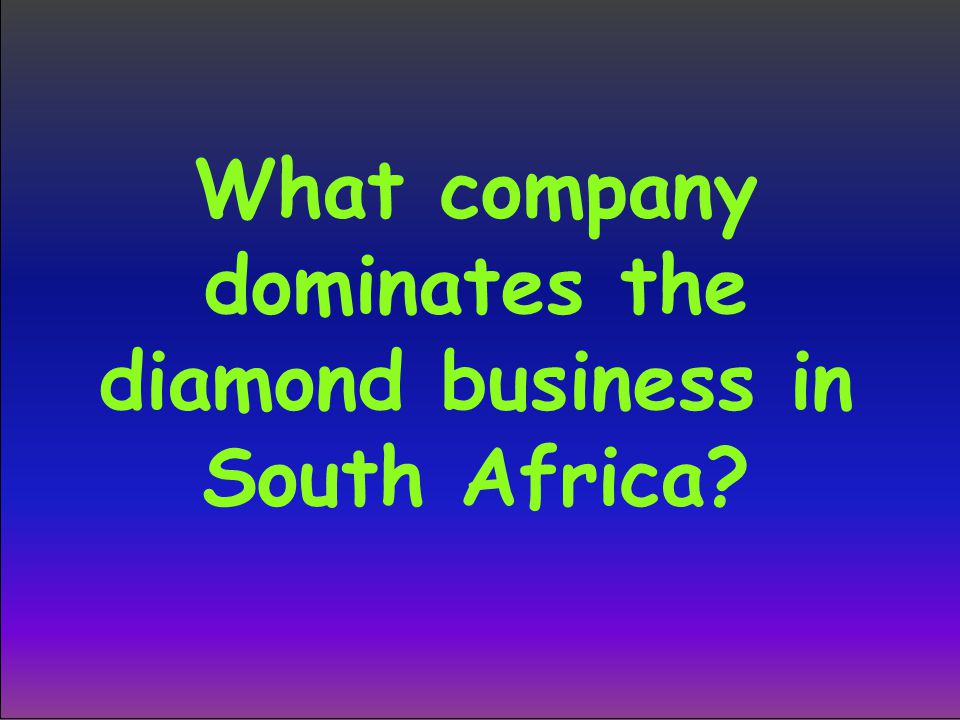 What company dominates the diamond business in South Africa