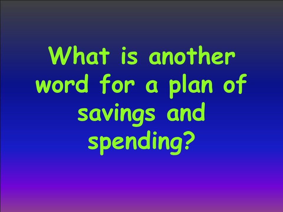What is another word for a plan of savings and spending