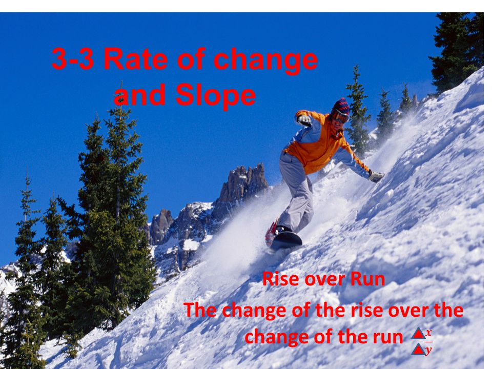 3-3 Rate of change and Slope Rise over Run The change of the rise over the change of the run