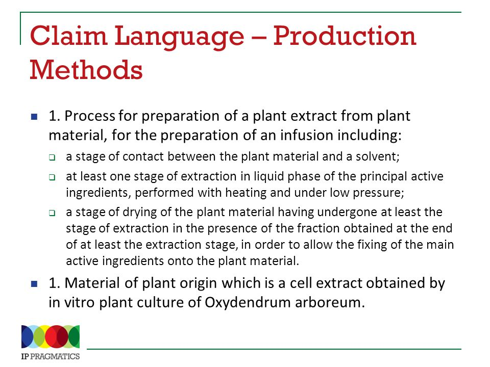 Claim Language – Production Methods 1.