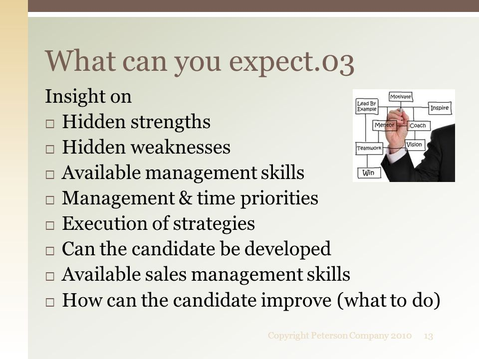 Insight on  Hidden strengths  Hidden weaknesses  Available management skills  Management & time priorities  Execution of strategies  Can the can