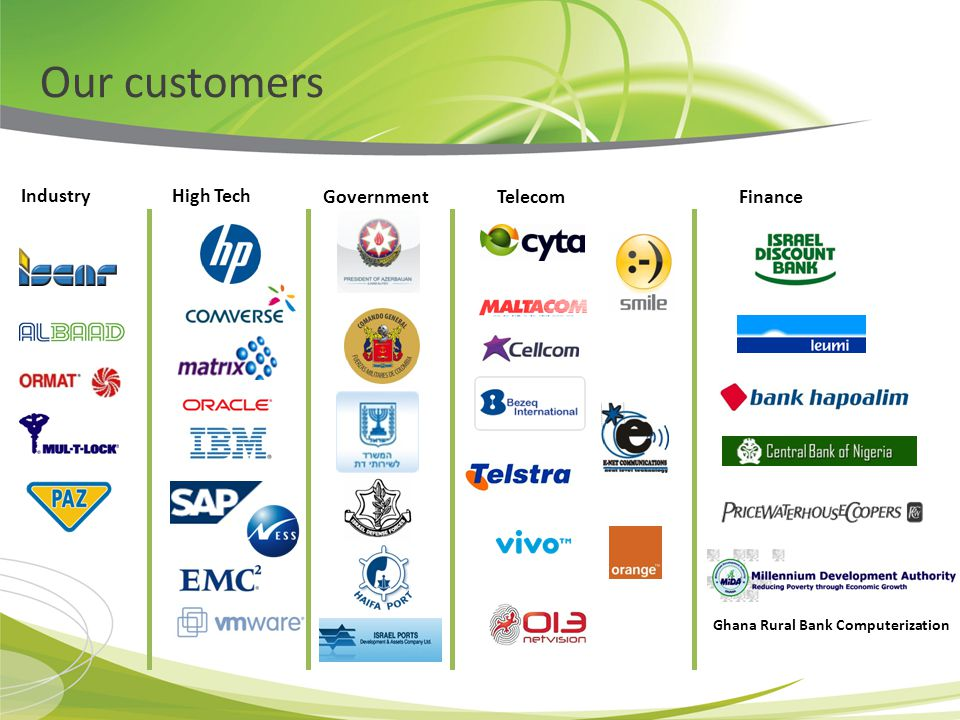 Our customers Government High TechIndustry TelecomFinance Ghana Rural Bank Computerization