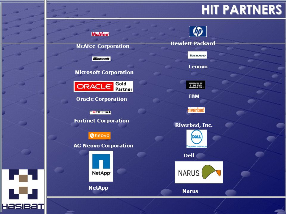 HIT PARTNERS Hewlett Packard Microsoft Corporation Oracle Corporation McAfee Corporation Fortinet Corporation AG Neovo Corporation Lenovo IBM Riverbed