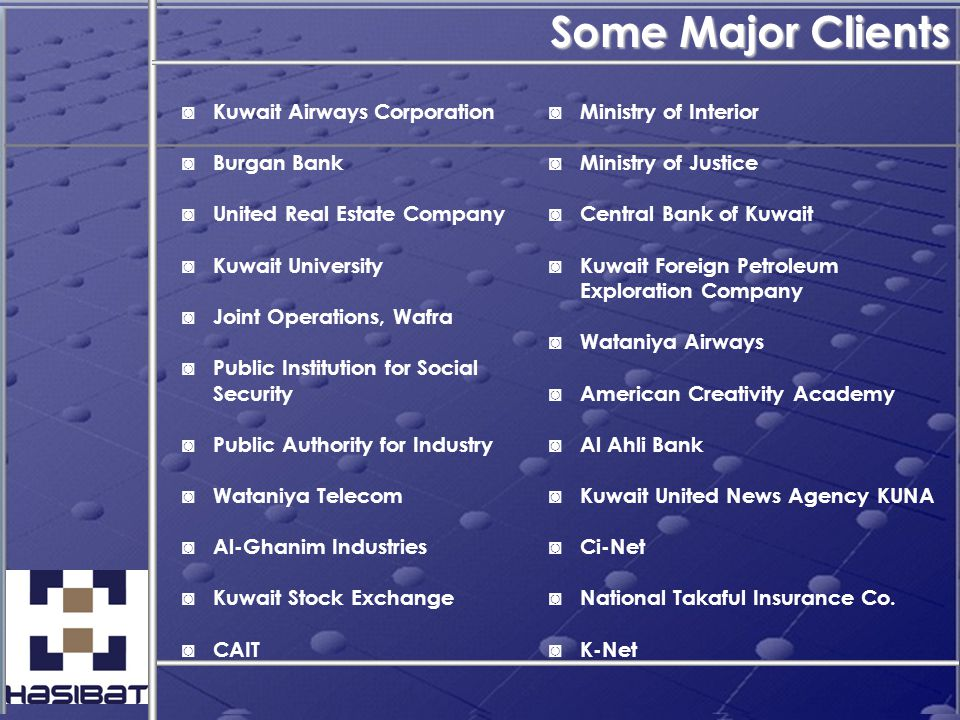 Some Major Clients ◙ Kuwait Airways Corporation ◙ Burgan Bank ◙ United Real Estate Company ◙ Kuwait University ◙ Joint Operations, Wafra ◙ Public Inst