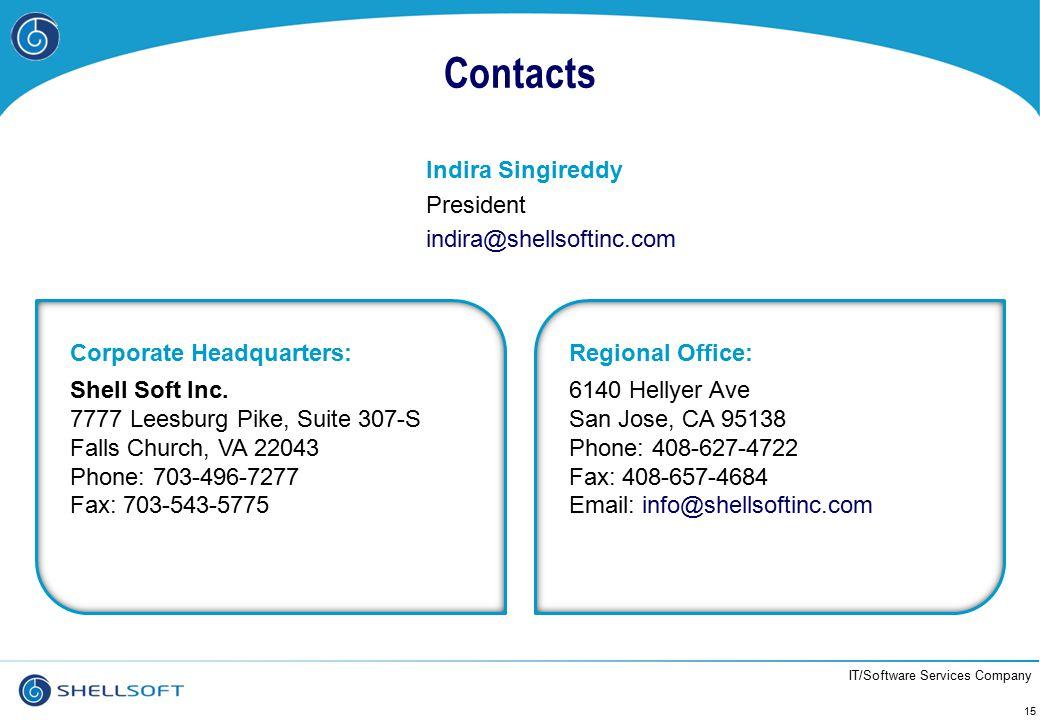 IT/Software Services Company Contacts Indira Singireddy President indira@shellsoftinc.com 15 Corporate Headquarters: Shell Soft Inc. 7777 Leesburg Pik