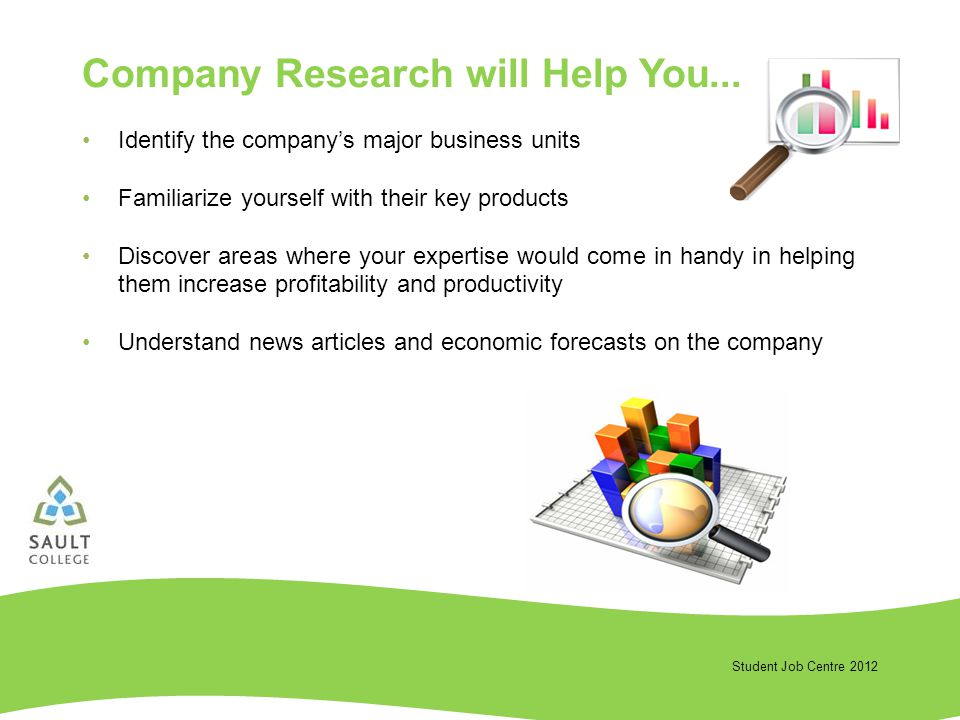 Student Job Centre 2012 Company Research will Help You...