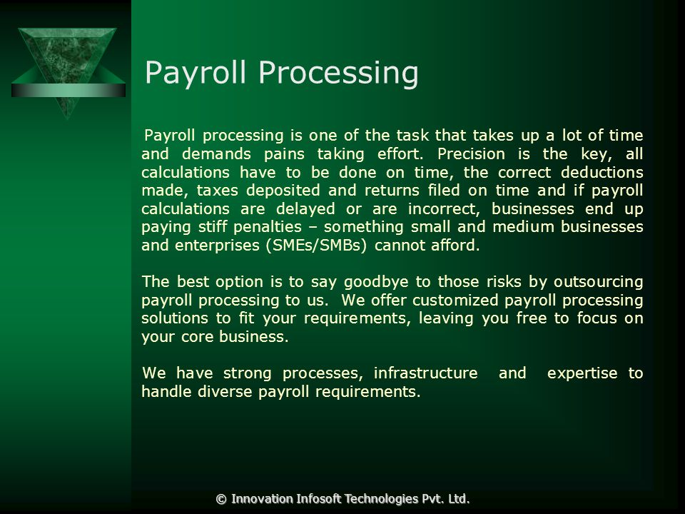 Why Outsource Reduce Costs The direct costs of processing payroll can be greatly reduced by working with a payroll provider.