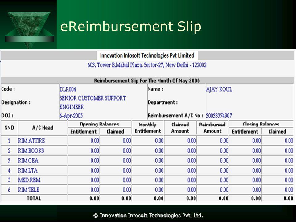 eReimbursement Slip © Innovation Infosoft Technologies Pvt. Ltd.