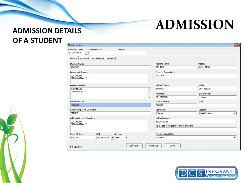 ADMISSION ADMISSION DETAILS OF A STUDENT