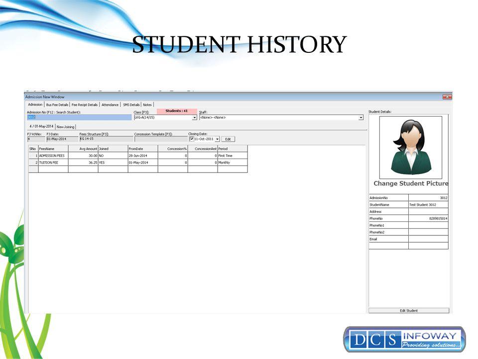 STUDENT HISTORY