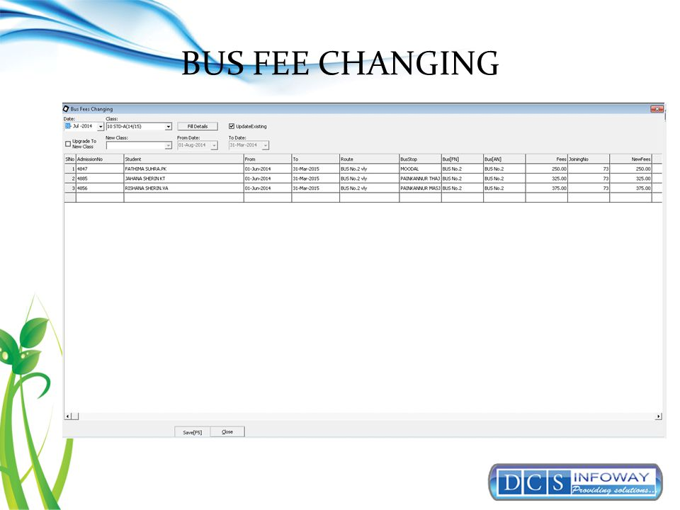 BUS FEE CHANGING