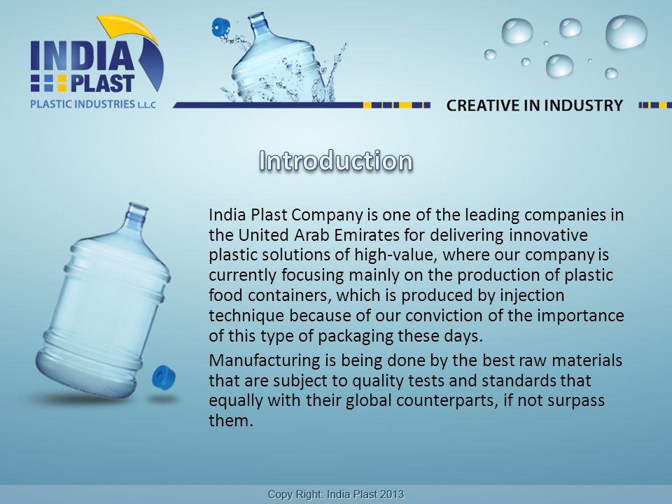 India Plast Company is one of the leading companies in the United Arab Emirates for delivering innovative plastic solutions of high-value, where our company is currently focusing mainly on the production of plastic food containers, which is produced by injection technique because of our conviction of the importance of this type of packaging these days.