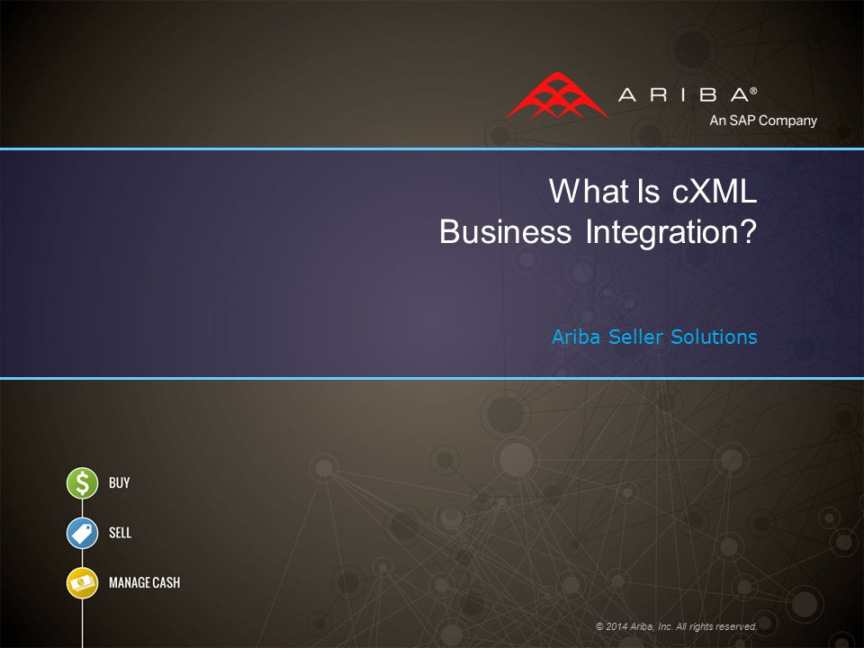 © 2014 Ariba, Inc. All rights reserved. What Is cXML Business Integration? Ariba Seller Solutions