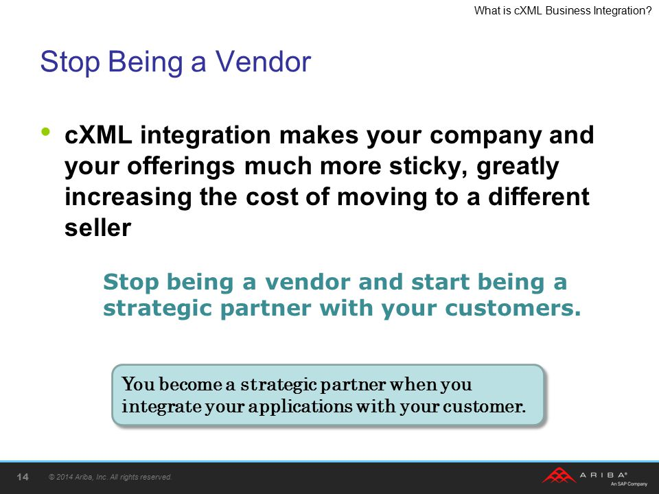 "Presentation ""� 2014 Ariba, Inc. All rights reserved. What Is cXML ..."