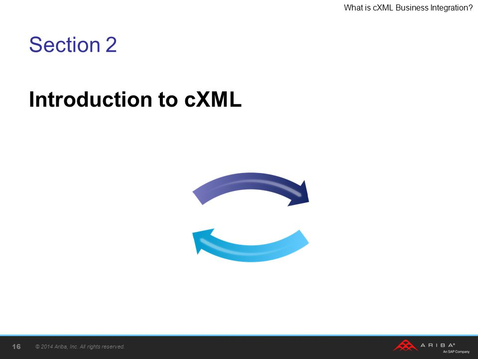 What is cXML Business Integration? Section 2 Introduction to cXML © 2014 Ariba, Inc. All rights reserved. 16