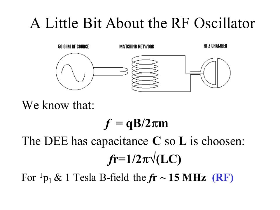 A Little Bit About the RF Oscillator We know that: f = qB/2  m The DEE has capacitance C so L is choosen: fr=1/2  (LC) For 1 p 1 & 1 Tesla B-field