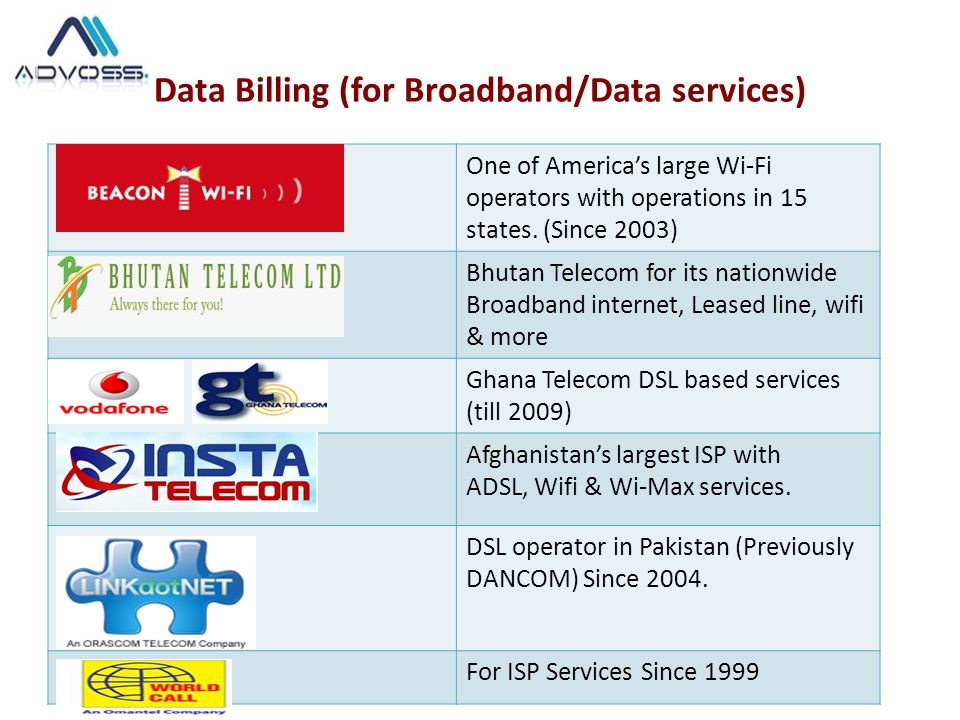 Data Billing (for Broadband/Data services) One of America's large Wi-Fi operators with operations in 15 states. (Since 2003) Bhutan Telecom for its na