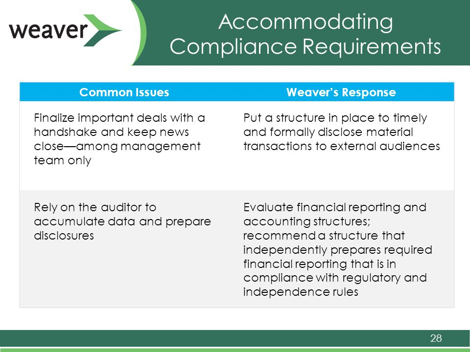 Accommodating Compliance Requirements 28 Common IssuesWeaver's Response Finalize important deals with a handshake and keep news close—among management team only Put a structure in place to timely and formally disclose material transactions to external audiences Rely on the auditor to accumulate data and prepare disclosures Evaluate financial reporting and accounting structures; recommend a structure that independently prepares required financial reporting that is in compliance with regulatory and independence rules