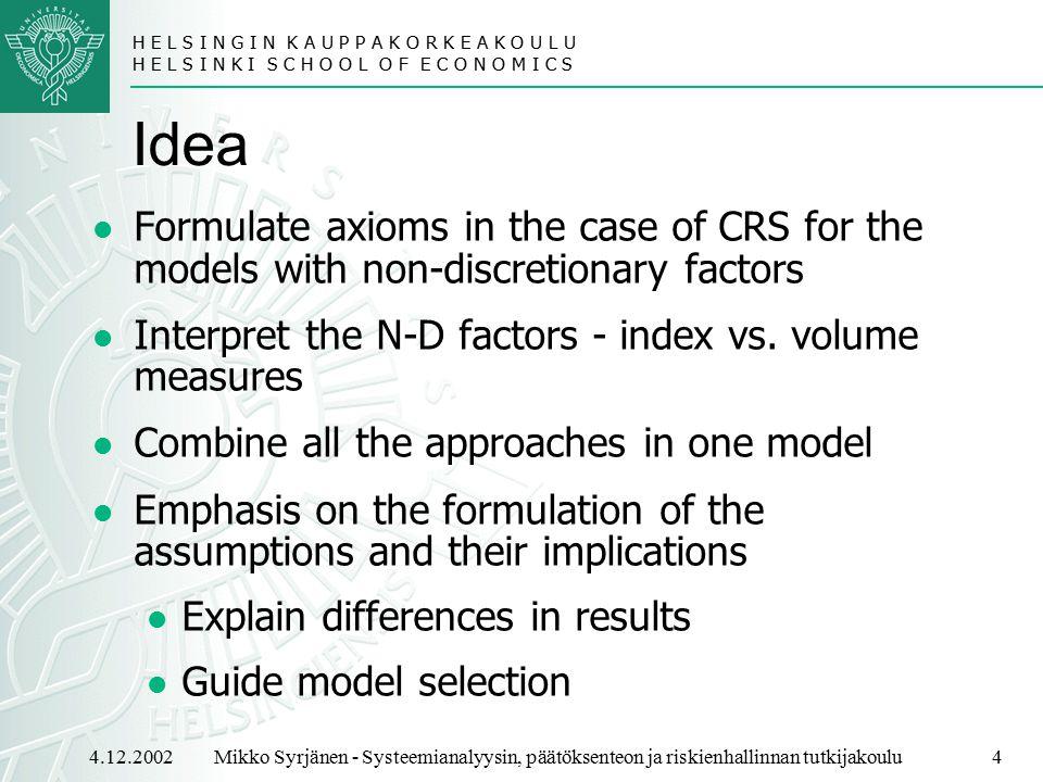 H E L S I N G I N K A U P P A K O R K E A K O U L U H E L S I N K I S C H O O L O F E C O N O M I C S 4.12.20024Mikko Syrjänen - Systeemianalyysin, päätöksenteon ja riskienhallinnan tutkijakoulu Idea Formulate axioms in the case of CRS for the models with non-discretionary factors Interpret the N-D factors - index vs.