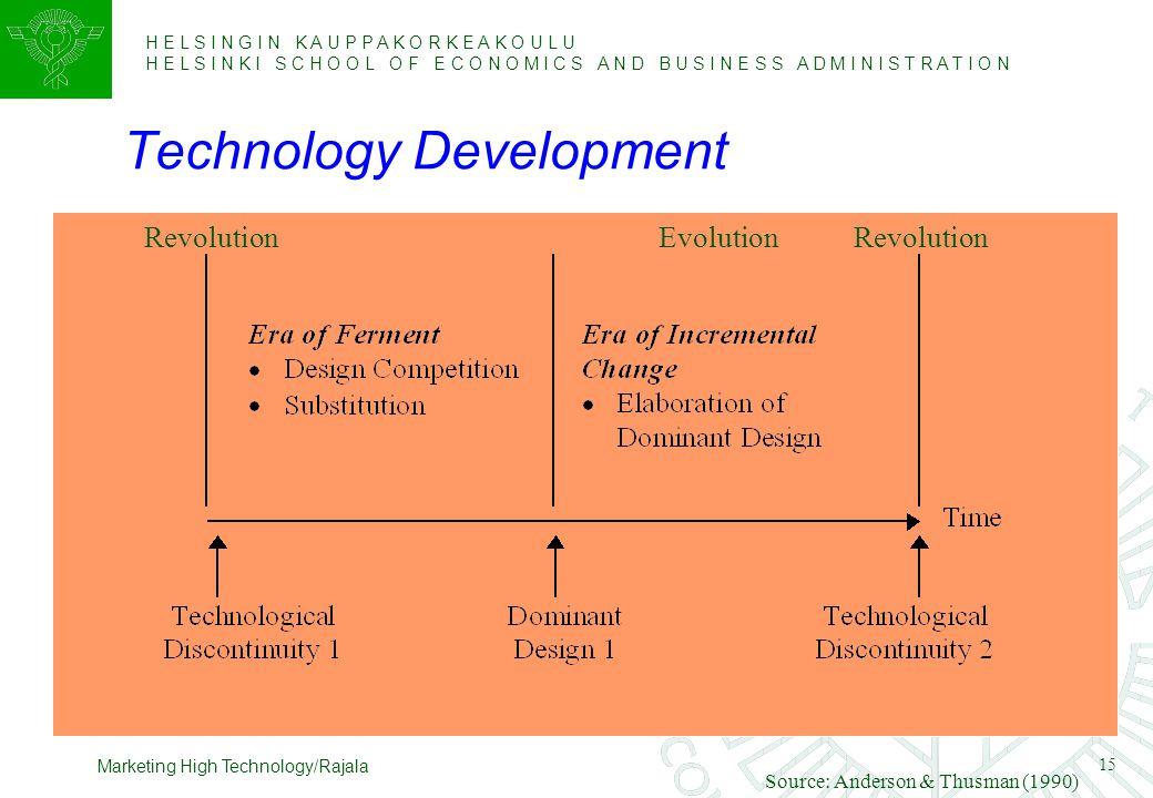 H E L S I N G I N K A U P P A K O R K E A K O U L U H E L S I N K I S C H O O L O F E C O N O M I C S A N D B U S I N E S S A D M I N I S T R A T I O N 15 Marketing High Technology/Rajala Technology Development Source: Anderson & Thusman (1990) RevolutionEvolutionRevolution