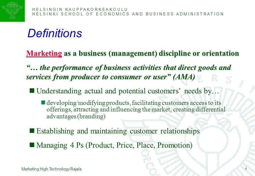 H E L S I N G I N K A U P P A K O R K E A K O U L U H E L S I N K I S C H O O L O F E C O N O M I C S A N D B U S I N E S S A D M I N I S T R A T I O N 25 Marketing High Technology/Rajala Technology Adoption Life Cycle Pragmatists create the dynamics of high-tech market development.