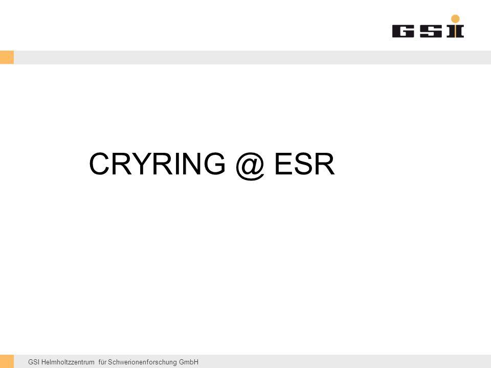 GSI Helmholtzzentrum für Schwerionenforschung GmbH CRYRING @ ESR