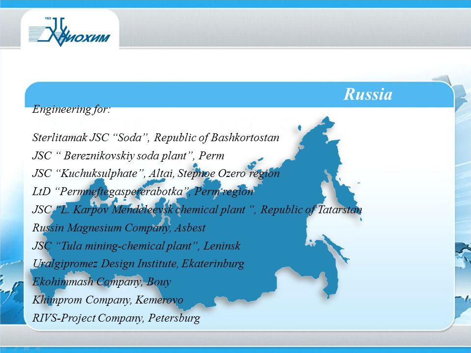 """Russia Engineering for: Sterlitamak JSC """"Soda"""", Republic of Bashkortostan JSC """" Bereznikovskiy soda plant"""", Perm JSC """"Kuchuksulphate"""", Altai, Stepnoe"""