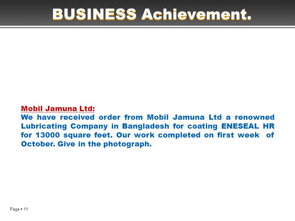 Page  11 BUSINESS Achievement.
