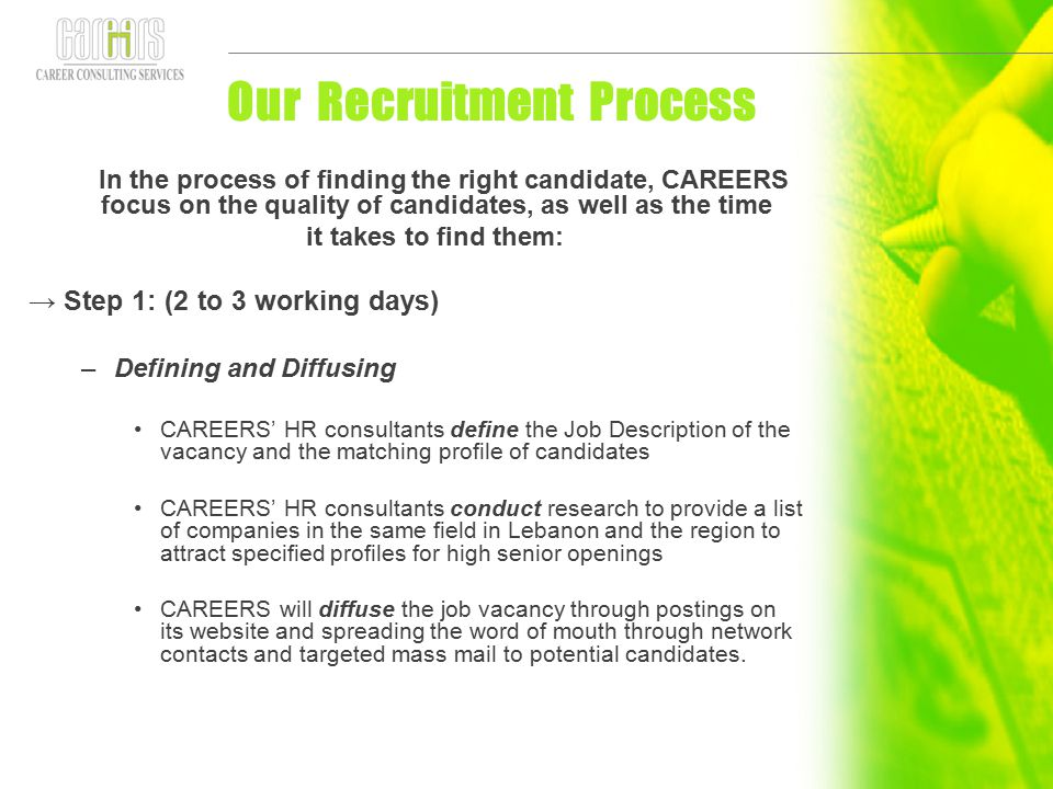 Our Recruitment Process In the process of finding the right candidate, CAREERS focus on the quality of candidates, as well as the time it takes to fin