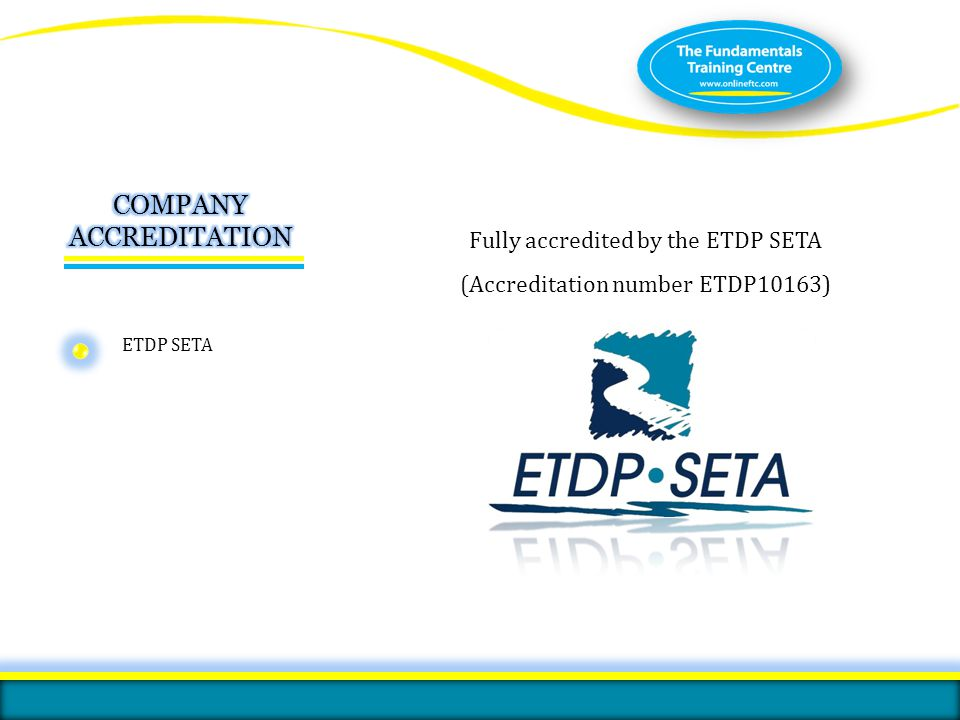 ISO 9001:2008 certified ETDP SETA ISO 9001:2008 Certified by the International Organisation for Standardisation ISO 9001:2008