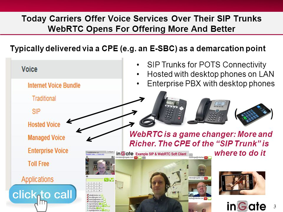 3 Today Carriers Offer Voice Services Over Their SIP Trunks WebRTC Opens For Offering More And Better Typically delivered via a CPE (e.g. an E-SBC) as