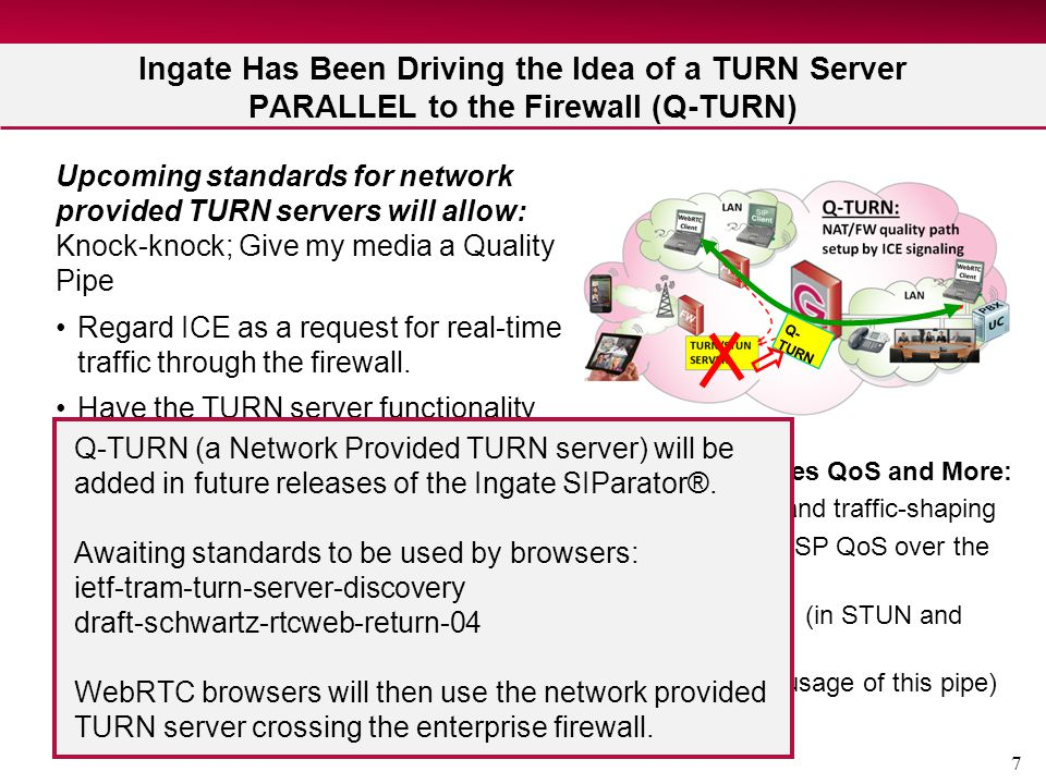7 Ingate Has Been Driving the Idea of a TURN Server PARALLEL to the Firewall (Q-TURN) Upcoming standards for network provided TURN servers will allow: Knock-knock; Give my media a Quality Pipe Regard ICE as a request for real-time traffic through the firewall.