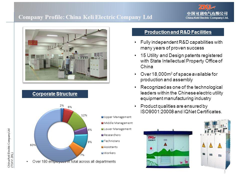 5 Company Profile: China Keli Electric Company Ltd 中国可利电气有限公司 China Keli Electric Company Ltd.