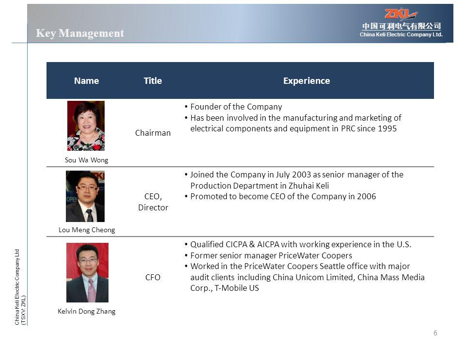 6 Key Management 中国可利电气有限公司 China Keli Electric Company Ltd.