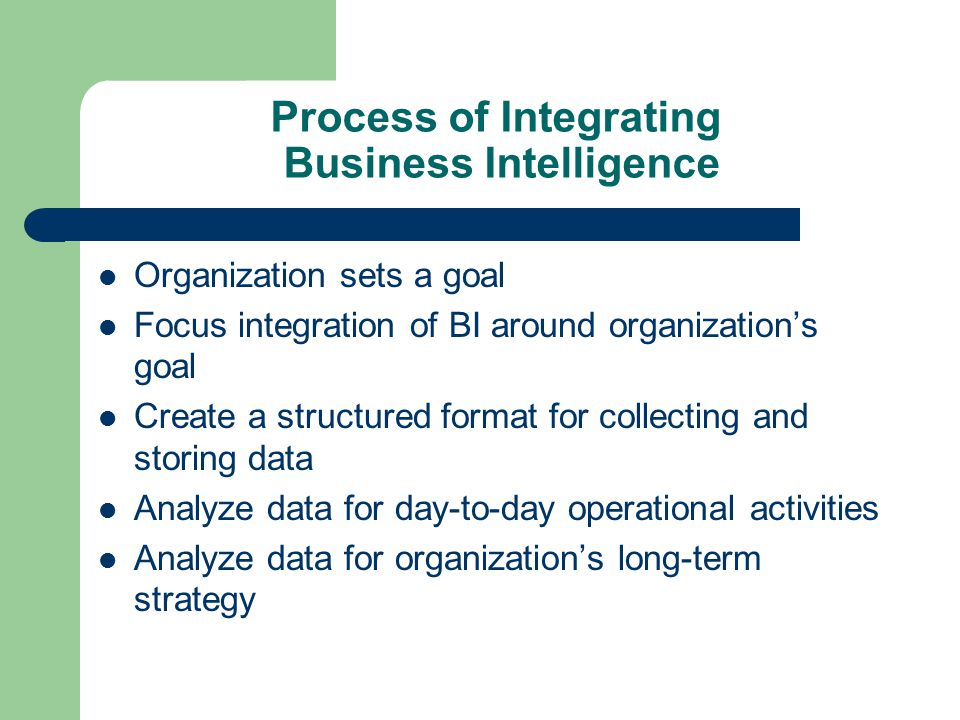 Process of Integrating Business Intelligence Organization sets a goal Focus integration of BI around organization's goal Create a structured format fo