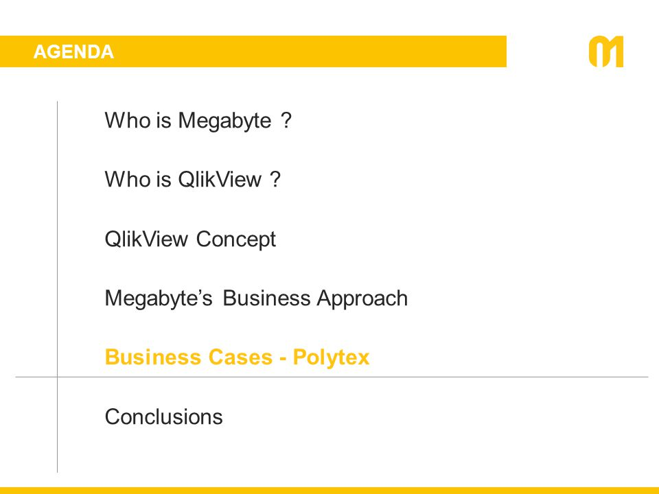 AGENDA Who is Megabyte ? Who is QlikView ? QlikView Concept Megabyte's Business Approach Business Cases - Polytex Conclusions