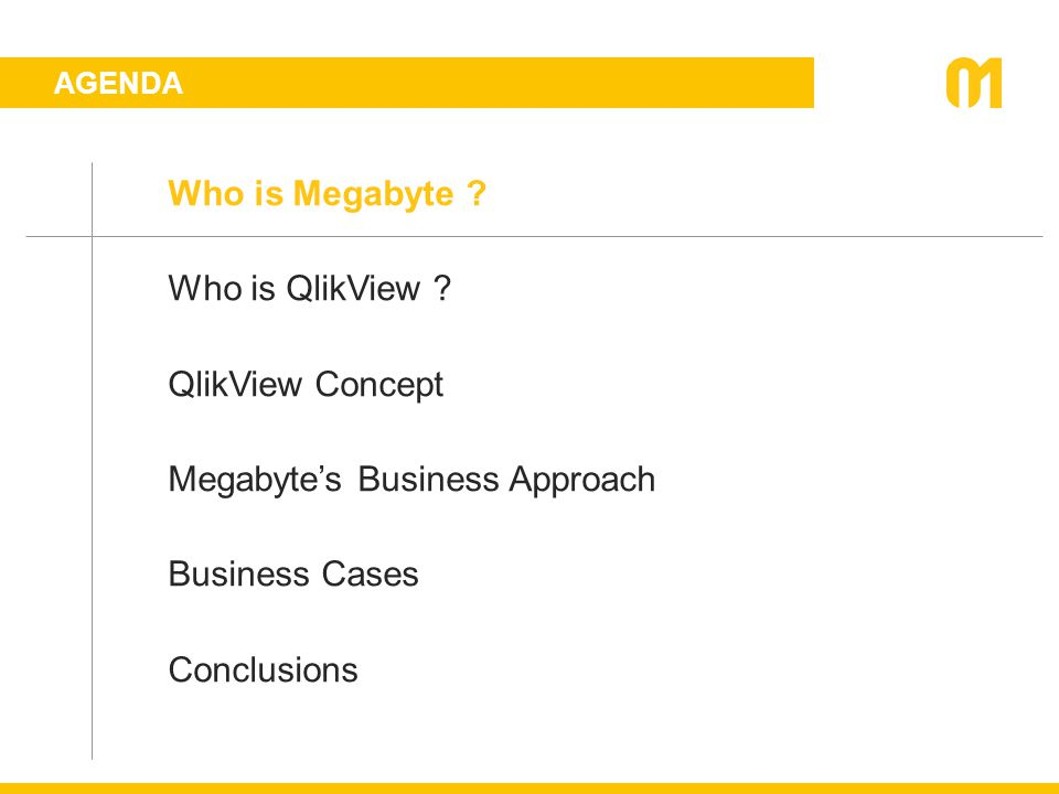 AGENDA Who is Megabyte ? Who is QlikView ? QlikView Concept Megabyte's Business Approach Business Cases Conclusions
